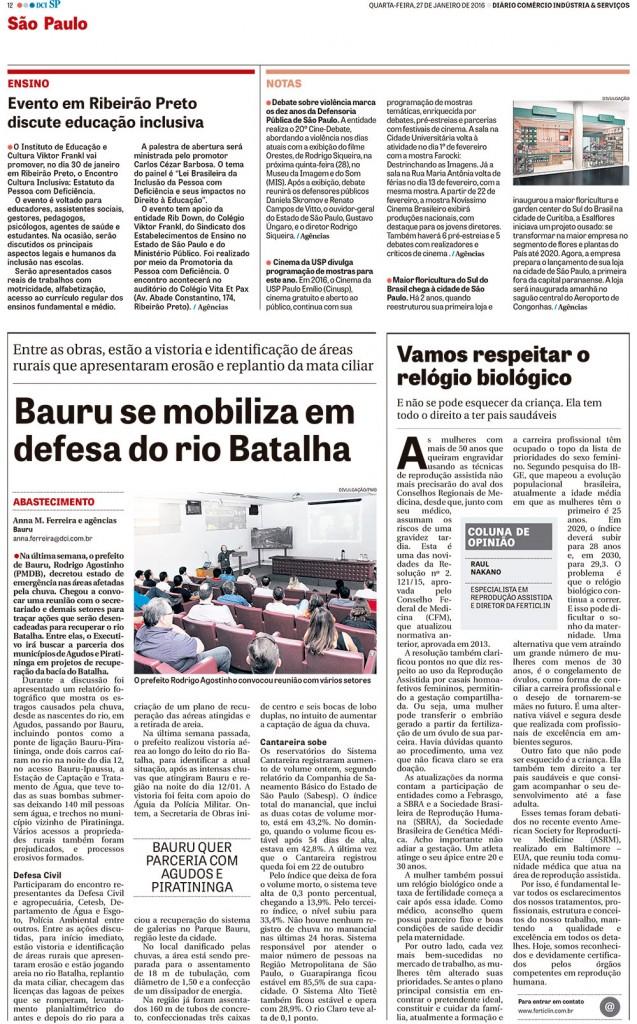 Dr. Raul Nakano na coluna de Opinião do Jornal DCI – Diário do Comercio e Indústria de SP