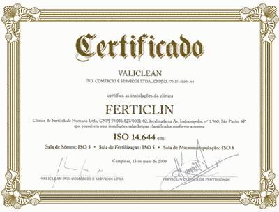 Certificate VALICLEAN