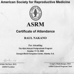 Certificado ASRM, 2009